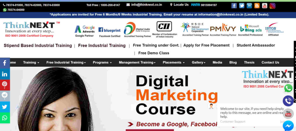 Think NEXT Technologies Private Limited is the best company for Digital Marketing Course in Chandigarh